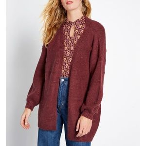 Modcloth Burgundy Textured Tendency Long Cardigan